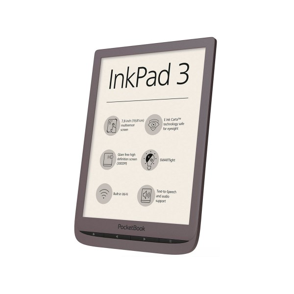 Pocketbook inkpad3 marrón oscuro e-book libro electrónico 7.8'' e ink carta smartlight wifi 8gb y microsd