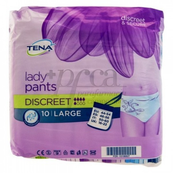 TENA LADY PANTS DISCREET TALLA L 10 U